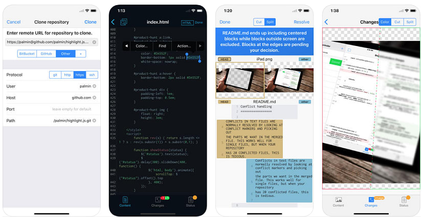 WorkingCopy git app for iPhone