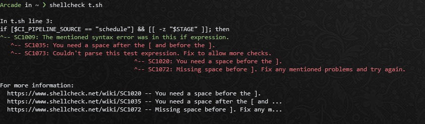 shellcheck output of original source code, indicating missing spaces in the test condition
