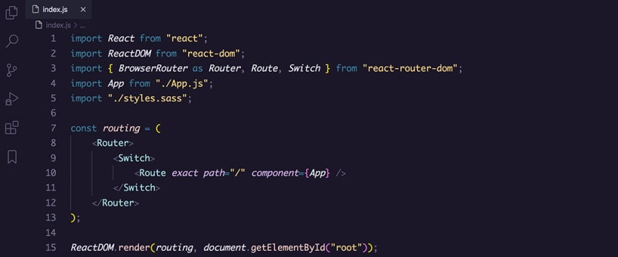 React code snippet with the Rosé Pine theme