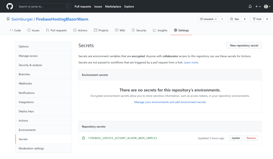 Screenshot of the secrets settings on the GitHub repository after Firebase initialization. One repository secret can be seen.