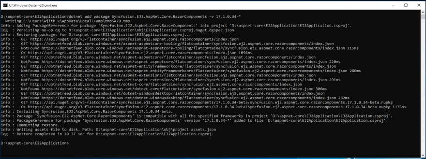 Installing Syncfusion ASP.NET Core Razor Components NuGet package
