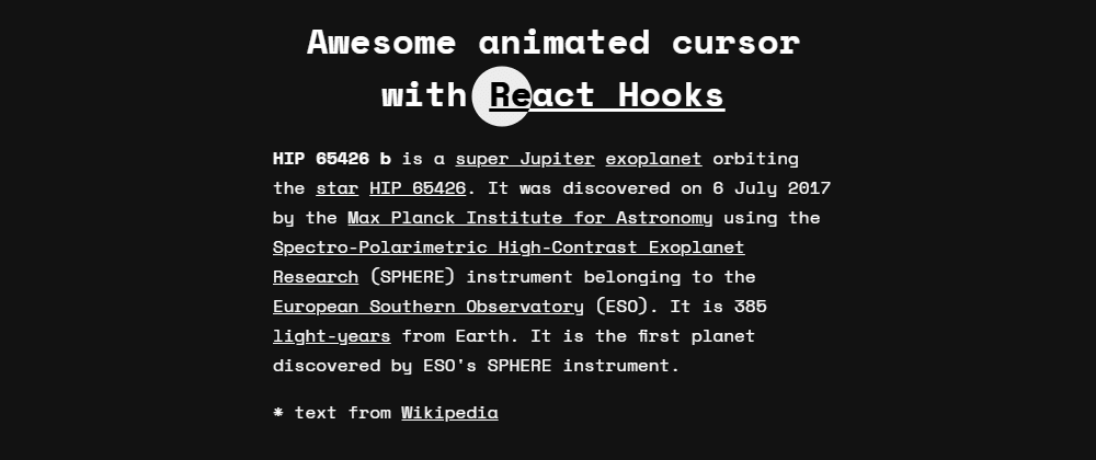 Cover image for Awesome animated cursor with React Hooks⚡️