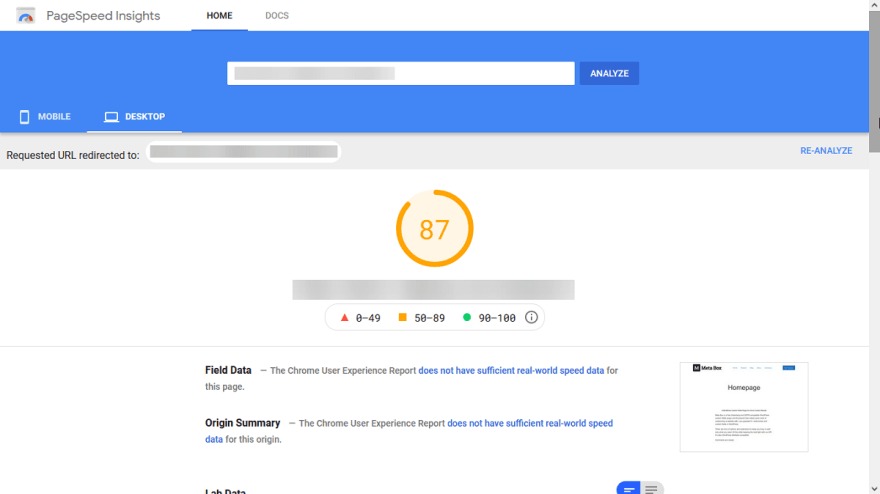 The loading speed of the website built with Oxygen