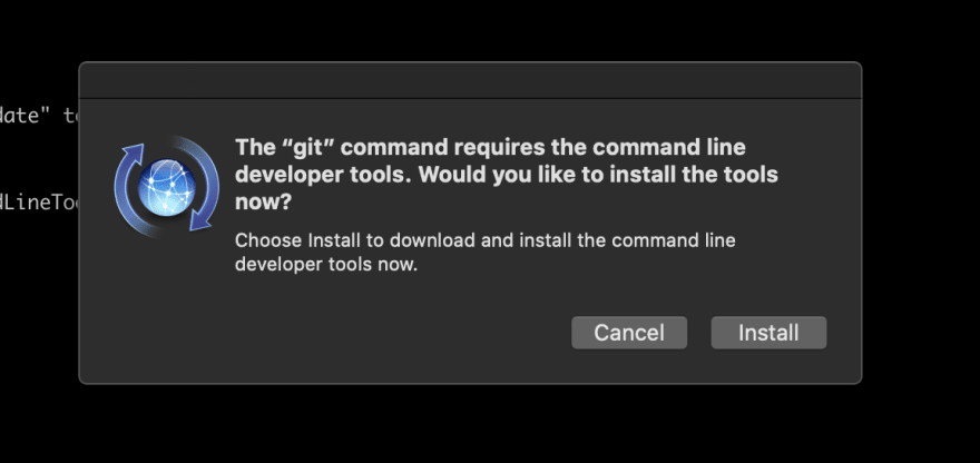 Prompt to reinstall command line developer tools