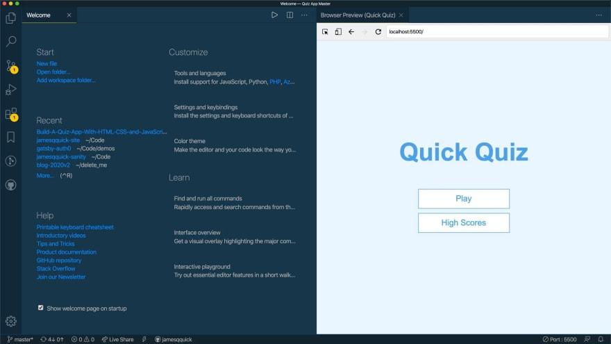quiz app running