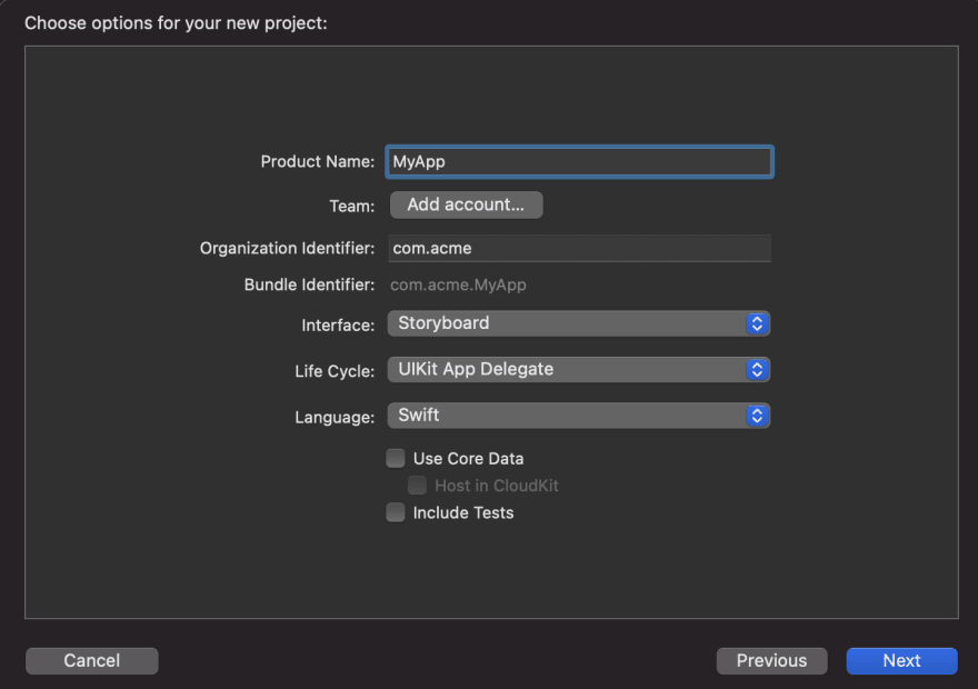 Image showing an Xcode project creation