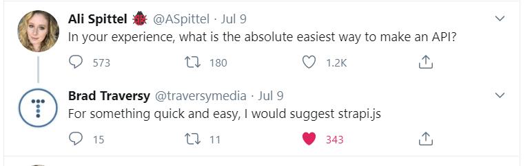 Strapi discussion tweet
