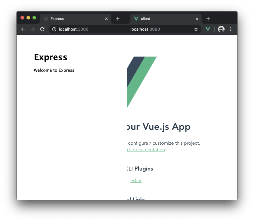 Screenshot of a Express.js and Vue.js running concurrently