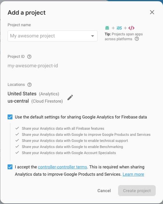 Firebase - Add Project