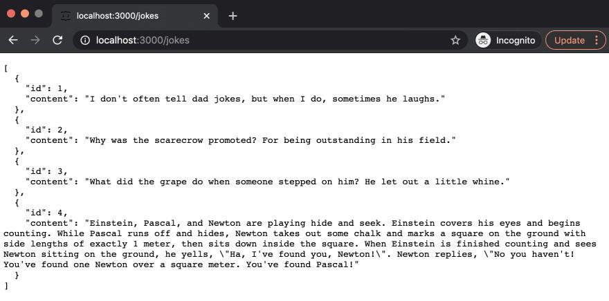/jokes API endpoint returns all the jokes when running the app locally