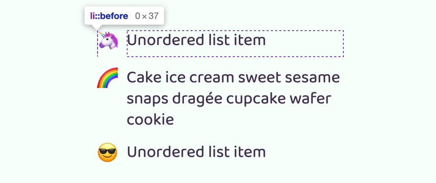 ul styled list elements
