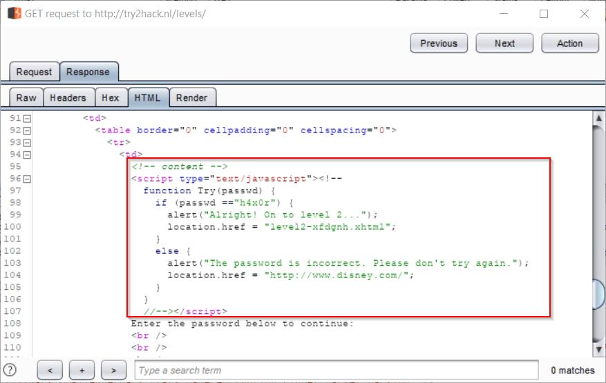Burp Suite - Inspecting HTML Response