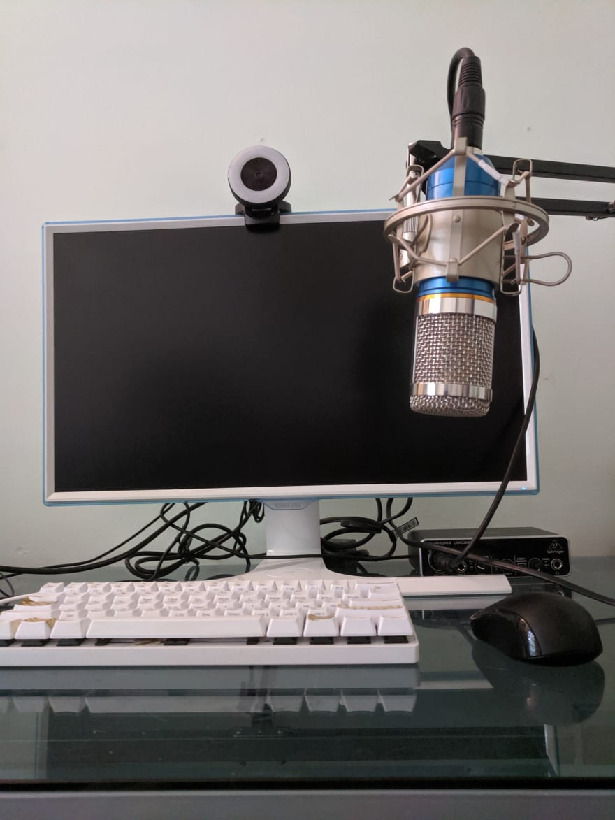 Desk with recording gear