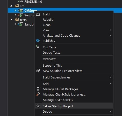 Project right-click options in Visual Studio