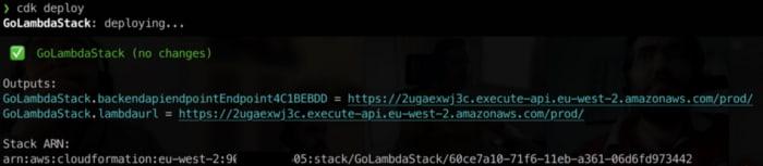 After cdk deploy, you can get API Gateway URL