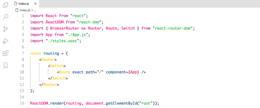 React code snippet with the Base16 - Light Pop theme