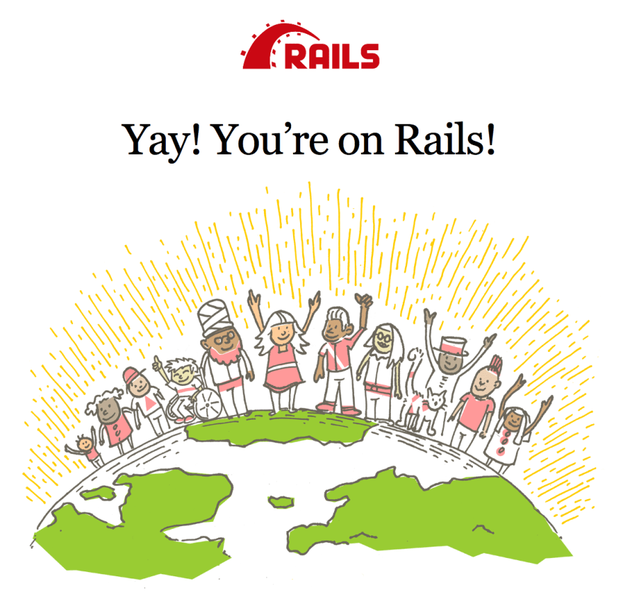 Welcome screen of new Ruby on Rails applications