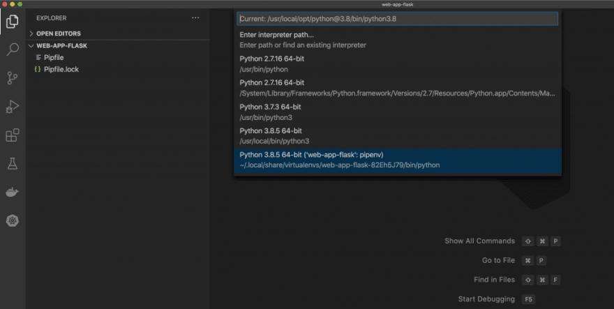 เลือกใช้ Python ของ pipenv