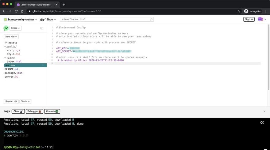 Screenshot of the .env file on Glitch