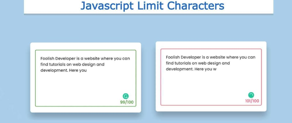 Cover image for Javascript Limit Characters in textbox with HTML & CSS