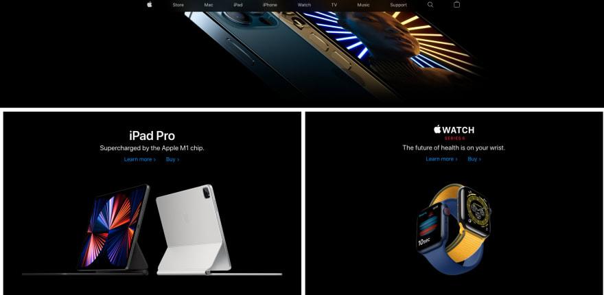 Apple website section