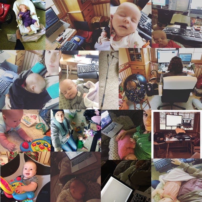 Collage of working with an infant