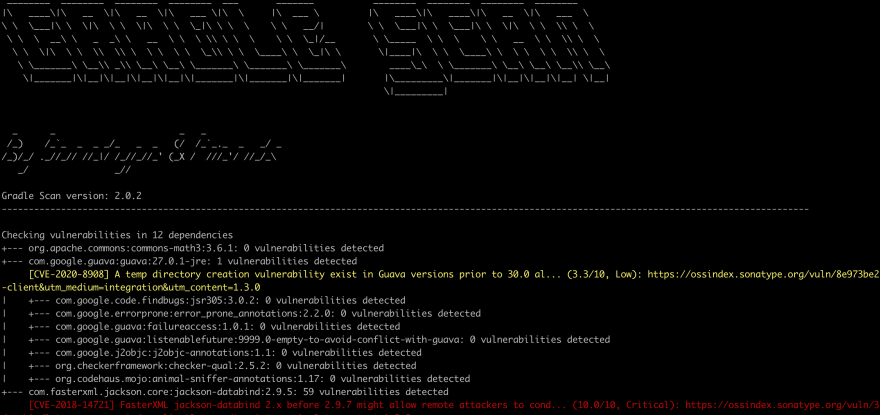 dependencies tree oss index output