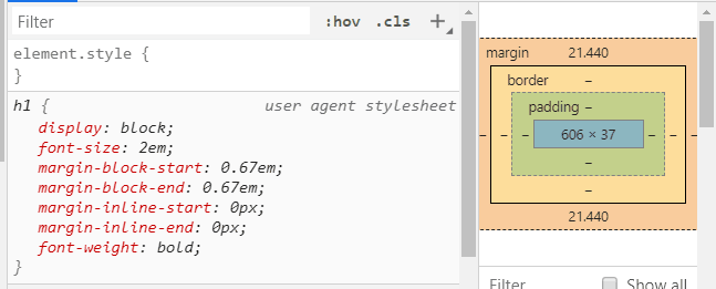 h1 font size in Chrome DevTools