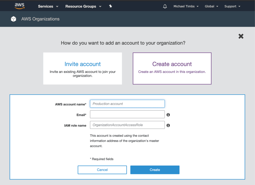 AWS Console — Create Account View