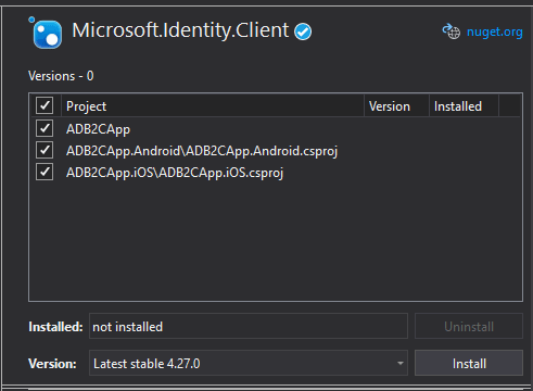 Package nuget Microsoft.Identity.Client