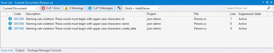 Visual Studio tells us that we have a naming rule violation