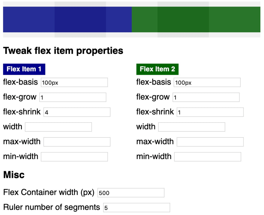 Specified flex-shrink and flex-grow properties