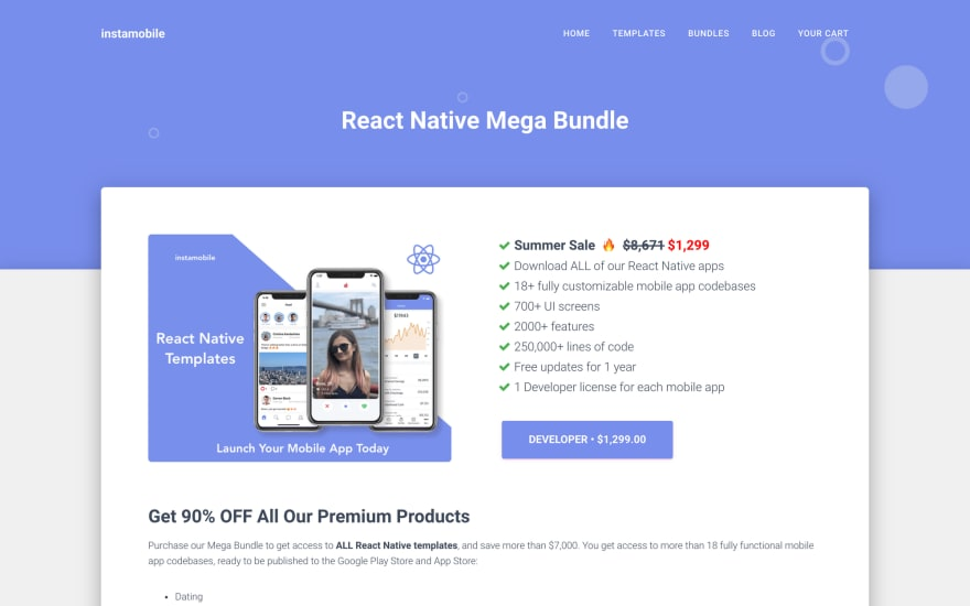 Instamobile – React Native Templates – up to 90% OFF