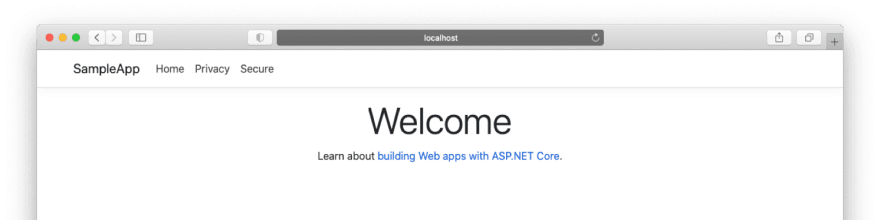 The initial app webpage.