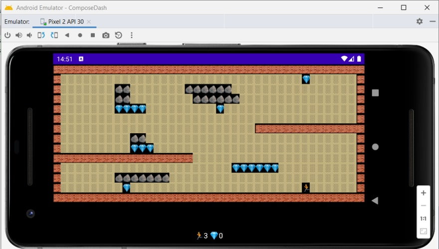 The game running on the Android Emulator
