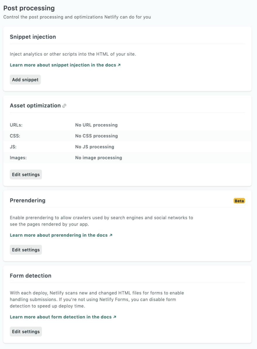 All the Netlify deploy post-processing options