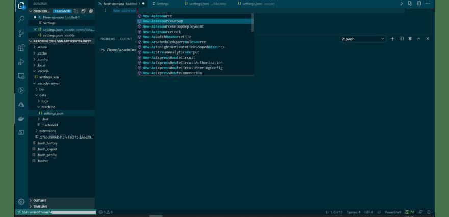 Mostrando o intelicense para PowerShell no Remote - SSH