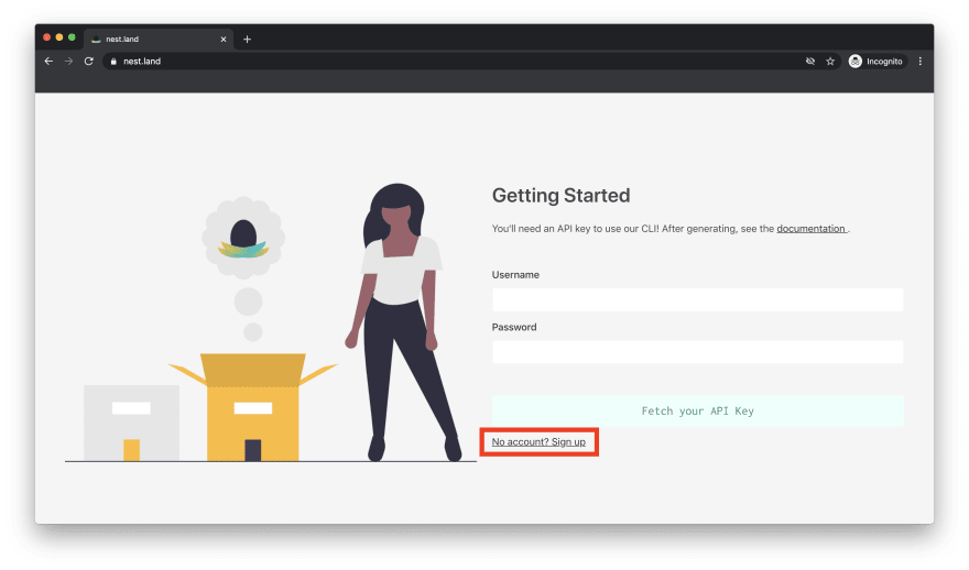 nest.land page with sign up link highlighted