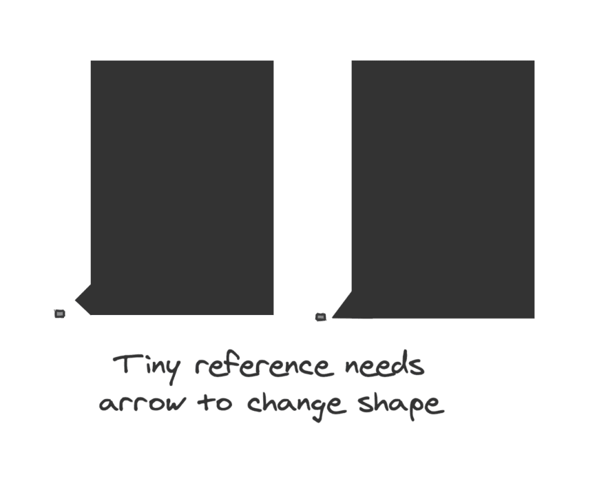Arrow changing shape so it points toward a very small reference that is smaller than the arrow's own size