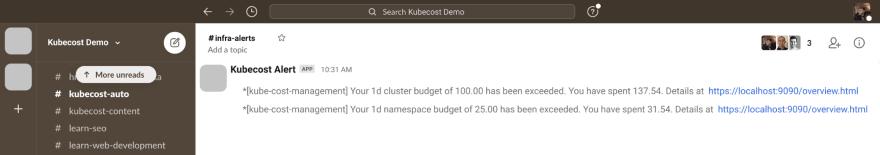 Kubecost Slack Notification