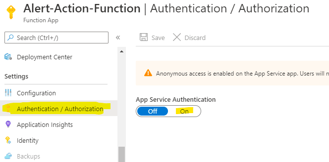 Enable function Authentication/Authorization