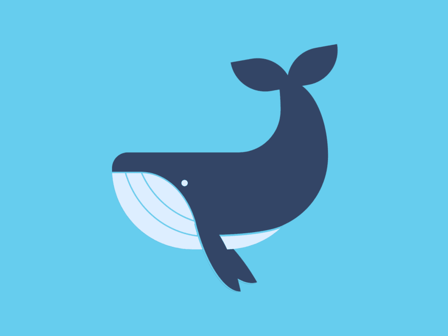 Cartoon of a whale swimming under water