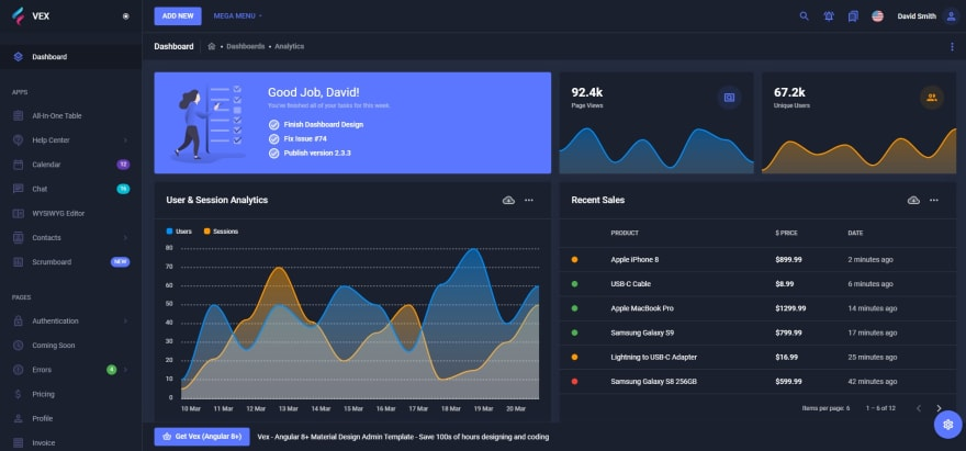 vex admin dashboard with angular 8