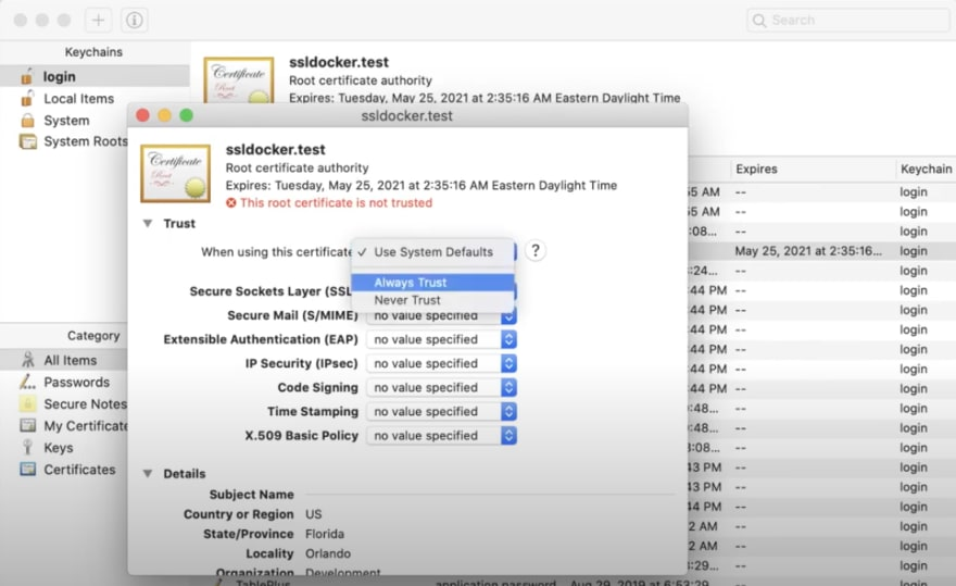 Screenshot of keychain access open with a self-signed ssl certificate