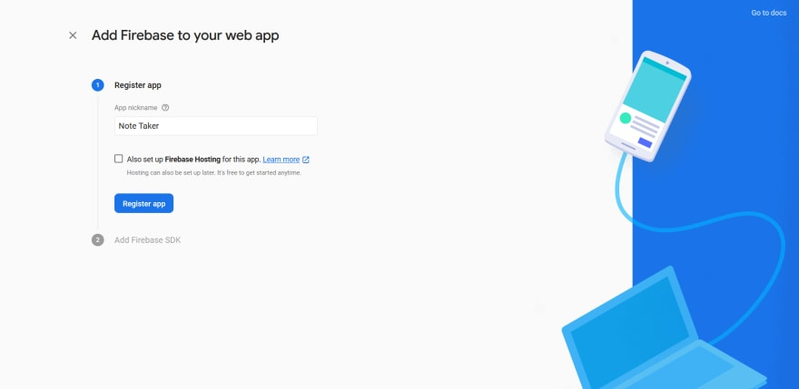 Register Firebase web app