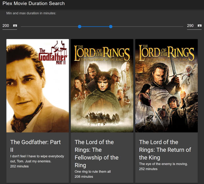 Movies shown are now filtered to a specific duration.