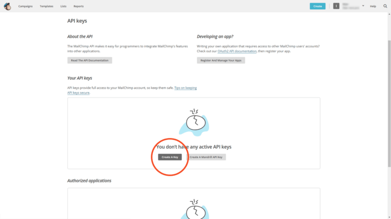 """The API key for integrating MailChimp account with """"MailChimp for WordPress"""" plugin"""