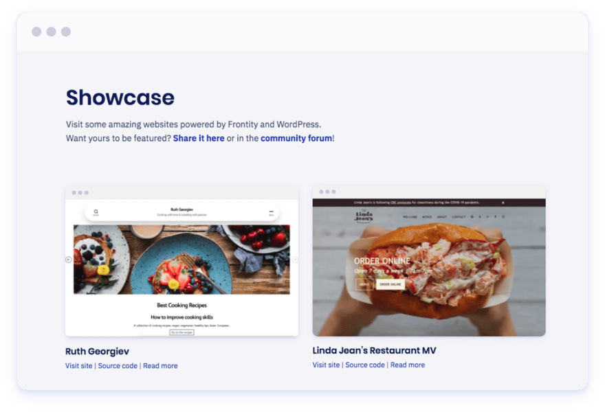 Screenshot of the Showcase page