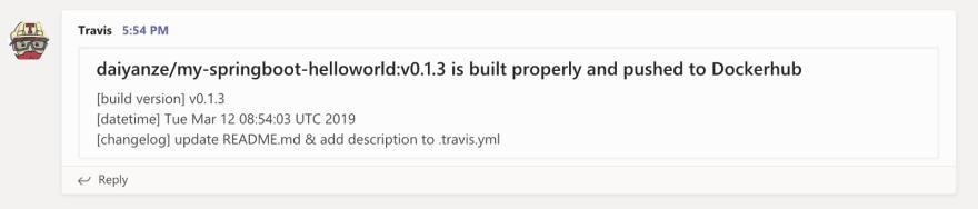 Teams: Travis build message 2