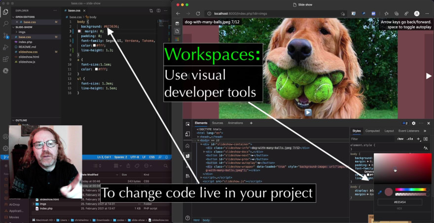 Syncing visual tool changes in DevTools using Workspaces